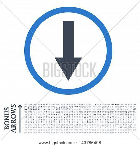 Down Rounded Arrow icon with 1200 bonus arrow and navigation pictograms. Vector illustration style is flat iconic bicolor symbols, smooth blue colors, white background.