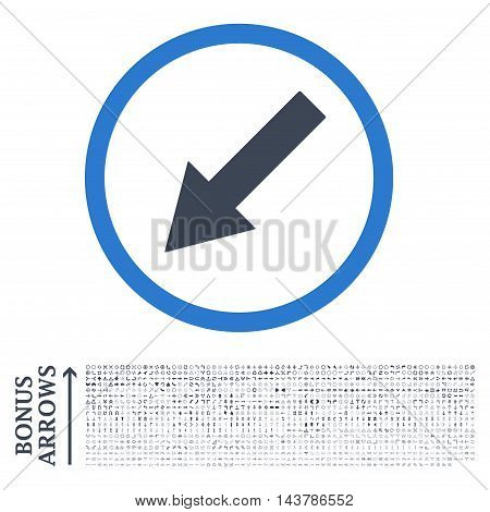 Down-Left Rounded Arrow icon with 1200 bonus arrow and direction pictograms. Vector illustration style is flat iconic bicolor symbols, smooth blue colors, white background.
