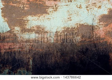 Background of rusty metal dirty wall in grunge style