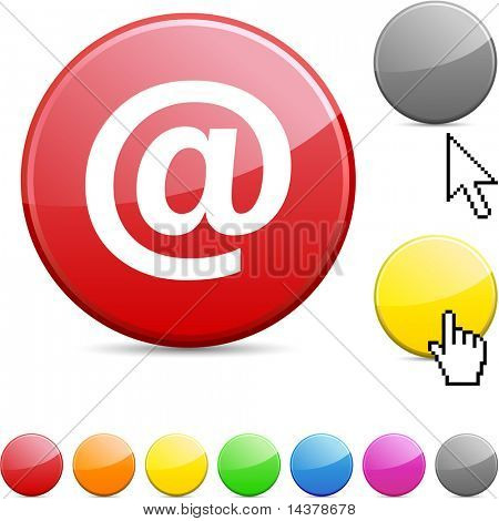 Arroba glossy vibrant round icon.