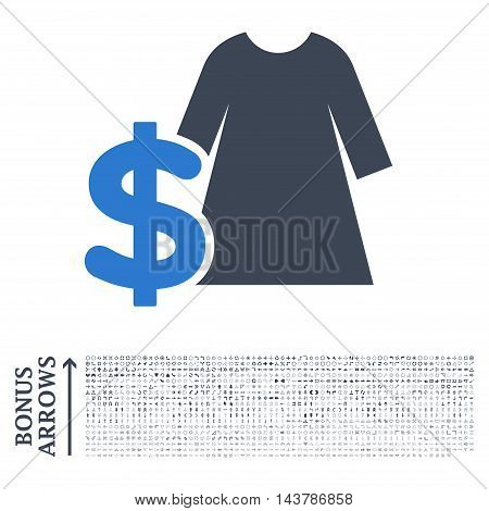 Dress Price icon with 1200 bonus arrow and direction pictograms. Vector illustration style is flat iconic bicolor symbols, smooth blue colors, white background.