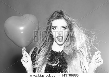 Emotional Sexy Woman With Balloon