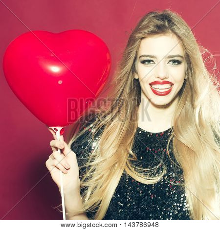Emotional Woman With Heart Balloon