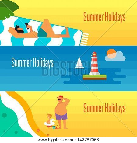 Summer holidays banner vector illustration. Man with smartphone sunbathes on beach under the sun. Father with little son near sea. Seascape with yacht and lighthouse. Concept of holiday at sea.