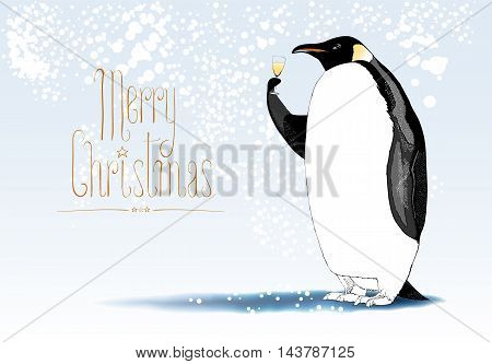 Merry Christmas vector greeting card. Penguin character drinking glass of champagne funny illustration. Design element with Merry Christmas sign hand drawn lettering