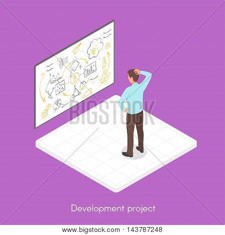 Isometric 3d vector illustration of project development process.