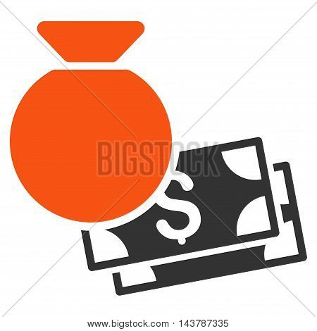 Money Bag icon. Vector style is bicolor flat iconic symbol with rounded angles, orange and gray colors, white background.