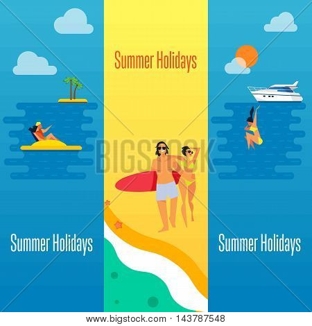 Summer holidays banner vector illustration. Young happy couple walking on beach. Seascape with yacht, sunset, swimming girl and couple on water bike. Concept of holiday at sea.