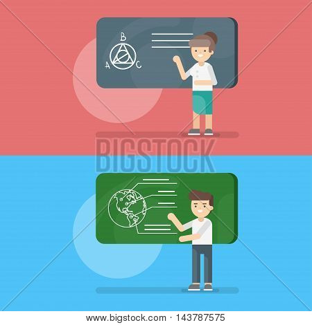 Vector illustration of teacher at the lesson of geometry and geography. Back to school concept.