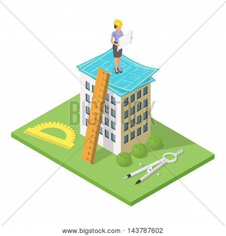 Vector isometric 3d illustration of city building with blueprints. Architectural background with engineer woman looking at house plan.