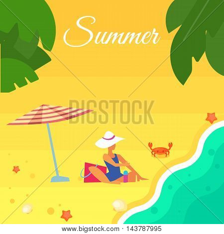 Summer banner vector illustration. Sexy girl in blue swimsuit sunbathes on beach under striped umbrella. Sand beach with sea crab, palm leaves and starfish. Summer background. Summer vacation