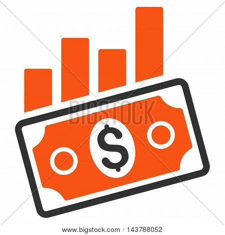 Sales Bar Chart icon. Vector style is bicolor flat iconic symbol with rounded angles, orange and gray colors, white background.
