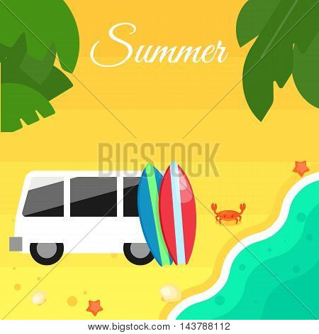 Summer banner vector illustration. Colorful surfboards stand near white mini van. Sand beach with sea crab, palm leaves and starfish. Summer background. Natural landscape. Concept of holiday at sea.