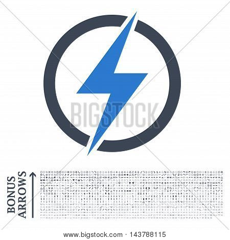 Electricity icon with 1200 bonus arrow and direction pictograms. Vector illustration style is flat iconic bicolor symbols, smooth blue colors, white background.