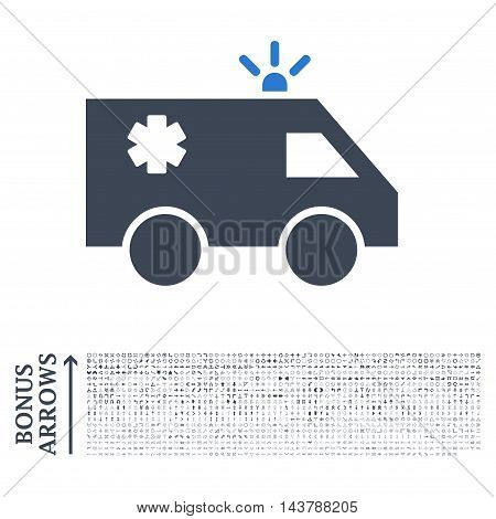 Emergency Car icon with 1200 bonus arrow and navigation pictograms. Vector illustration style is flat iconic bicolor symbols, smooth blue colors, white background.