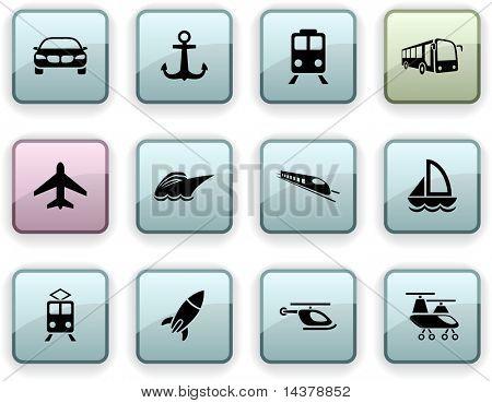 Transport set of square dim icons.