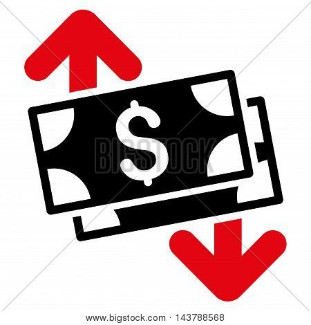 Banknotes Spending icon. Vector style is bicolor flat iconic symbol with rounded angles, intensive red and black colors, white background.