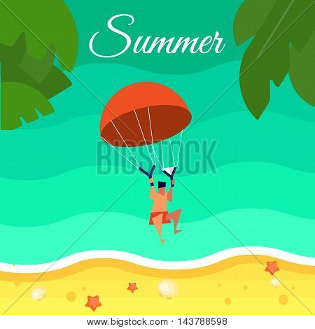 Summer background, vector illustration. Kiting man with red parachute flying above water. Sand beach with palm leaves and starfish. Natural landscape. Concept of holiday at sea. Extreme sea sports
