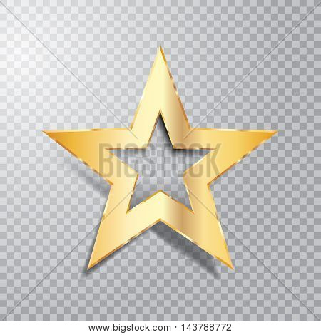 golden star with transparent shadow, vector illustration