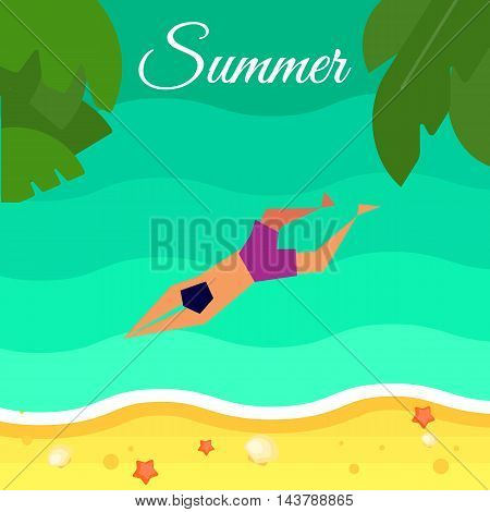 Summer background, vector illustration. Swimming man in purple swimming trunks in water. Sand beach with palm leaves and starfish. Natural landscape. Summer fun. Sea time. Summer concept.