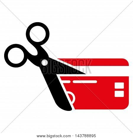 Cut Credit Card icon. Vector style is bicolor flat iconic symbol with rounded angles, intensive red and black colors, white background.