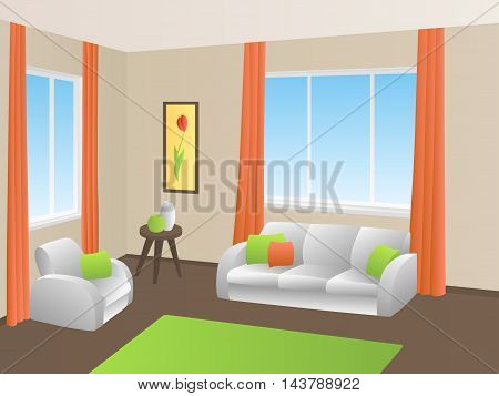 Living room interior green orange yellow white sofa armchair window illustration vector