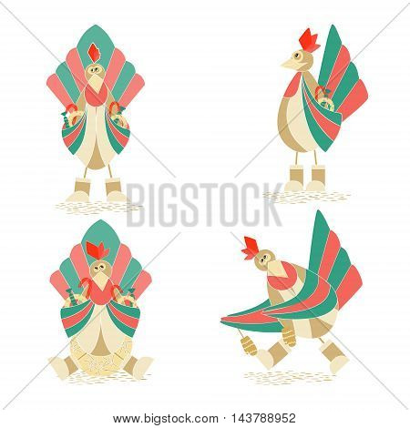 Set with Four Cute Christmas Flat Cockerels with Christmas Sweets. Vector EPS 10