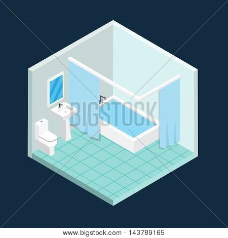 Isometric toilet room vector perspective design .