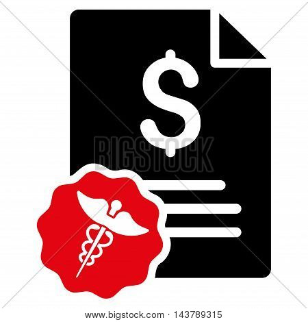 Medical Invoice icon. Vector style is bicolor flat iconic symbol with rounded angles, intensive red and black colors, white background.