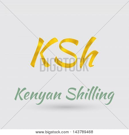 Symbol of the Kenya Currency with Golden Texture.Vector EPS 10
