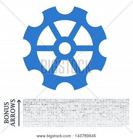 Gear icon with 1200 bonus arrow and navigation pictograms. Vector illustration style is flat iconic bicolor symbols, smooth blue colors, white background.