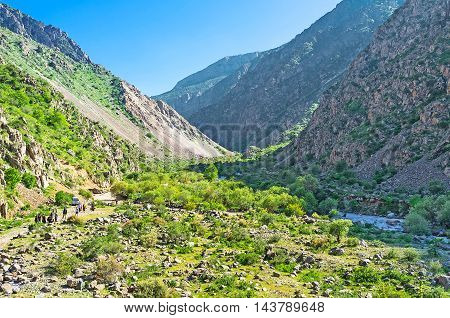 The winding Zarmas Gorge offers many opportunities for hikers and active tourists Gissar Nature Reserve Uzbekistan.