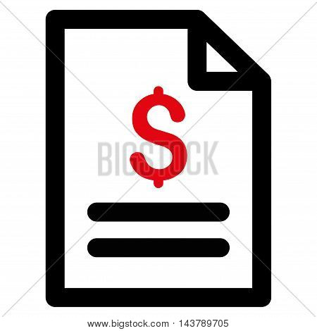 Price List icon. Vector style is bicolor flat iconic symbol with rounded angles, intensive red and black colors, white background.