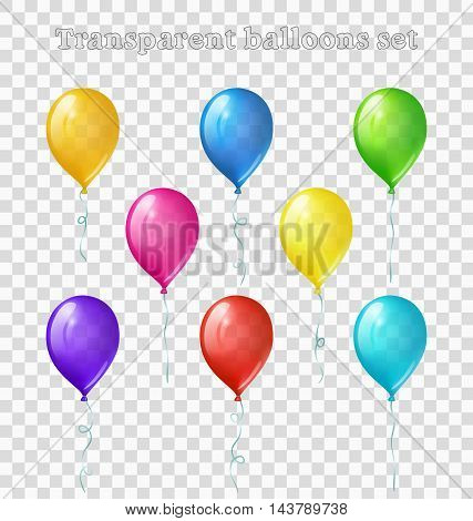 Set of eight bright colored transparent balloons