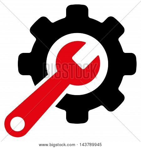 Tools icon. Vector style is bicolor flat iconic symbol with rounded angles, intensive red and black colors, white background.
