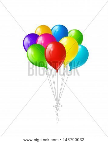 Bunch of colored bright balloons isolated on white background