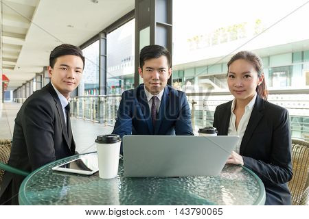 Business people working at outdoor