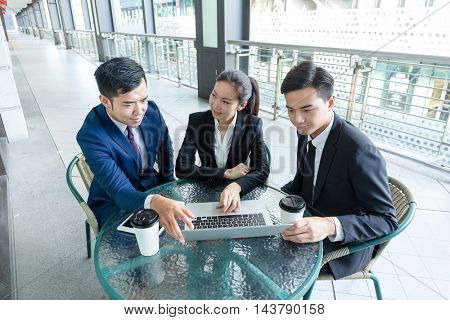 Business team working at outdoor