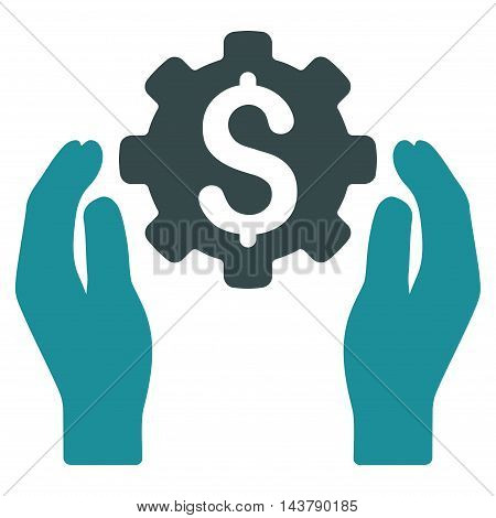 Banking Maintenance Hands icon. Vector style is bicolor flat iconic symbol with rounded angles, soft blue colors, white background.