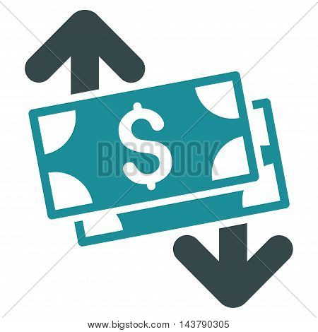 Banknotes Spending icon. Vector style is bicolor flat iconic symbol with rounded angles, soft blue colors, white background.