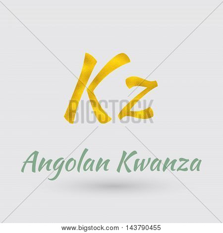 Symbol of the Angola Currency with Golden Texture.Vector EPS 10