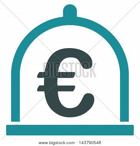 Euro Storage icon. Vector style is bicolor flat iconic symbol with rounded angles, soft blue colors, white background.