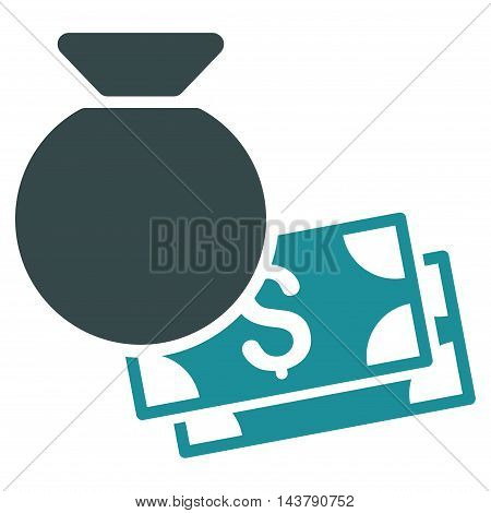 Money Bag icon. Vector style is bicolor flat iconic symbol with rounded angles, soft blue colors, white background.