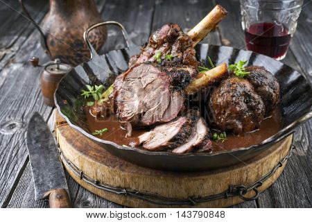 Lamb Knockle in Red WIne Souce