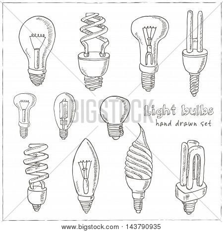 Doodle Set of light bulbs Vector illustration