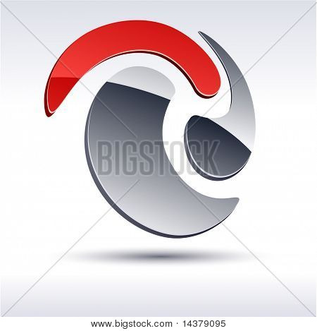 Abstract modern 3d swirl  icon. Vector.