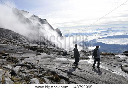 Hikers near the summit of Mt Kinabalu.