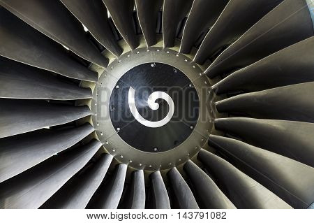 Blades In An Airplane Engine