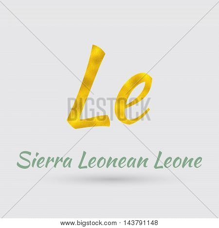 Symbol of the Sierra Leone Currency with Golden Texture.Vector EPS 10