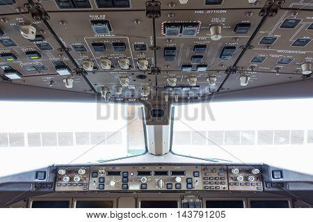Flight Deck In Regular Airplane.